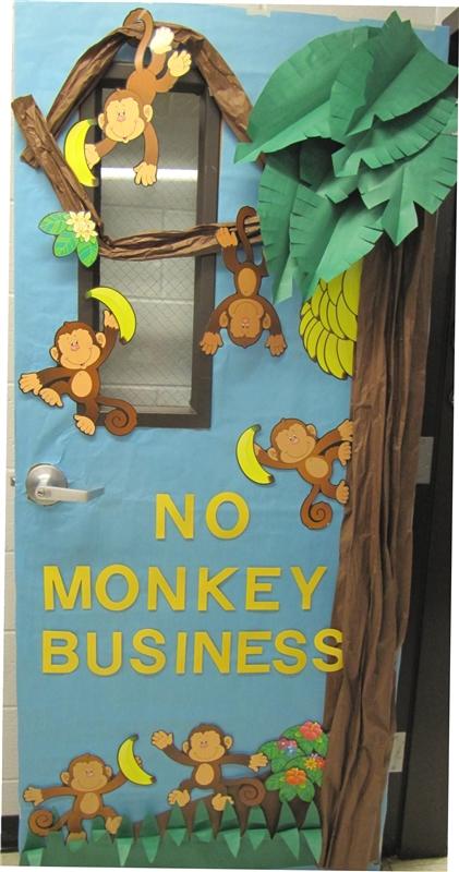 No Monkey Business Door Decoration